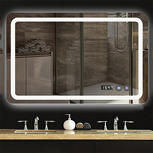 LED lighting bathroom mirror with touch button control, time and temperature display, anti fogging mirror by LOKE