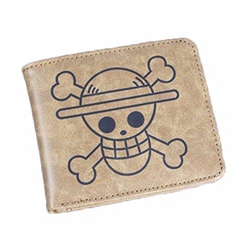 new Cuero Piel Cartera Multi-bolsillos Cartera hombre Purse Cráneo Huesos One Piece Luffy rare