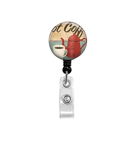 Nurse name badge holder pink rhinestone badge. Cute retractable ID badge reel Coffee badge reel