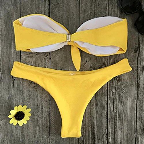 Up Shirt Wrap Reggiseno pezzi 2 Angelof Chest Swimwear Womens Yellow imbottito Teen Off Girl Push Bikini Shoulder Scooped xYPxq5vwC