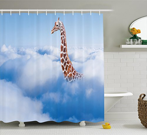 Giraffe Shower Curtain Set by Ambesonne, Aerial Scenery of a Flying Giraffe in Fluffy Clouds Heaven Fantasy for Animals Themed , Fabric Bathroom Decor with Hooks, 70 Inches, White - Gifts Flying Cloud
