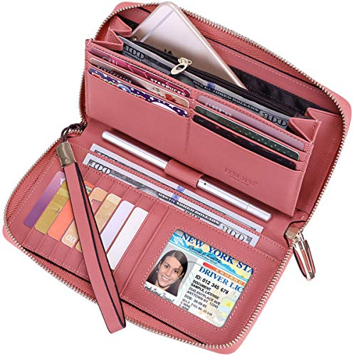 Pink Leather Checkbook Wallet - Itslife Women RFID Leather Wristlet Wallets Zip Around Phone Checkbook Card Big Clutch Large Ladies Travel Purse (Stripe Pink)