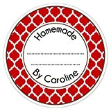 36 Kitchen Labels, Canning Stickers, Baked Goods, Homemade Labels, Homemade Kitchen Stickers, Red Quatrafoil