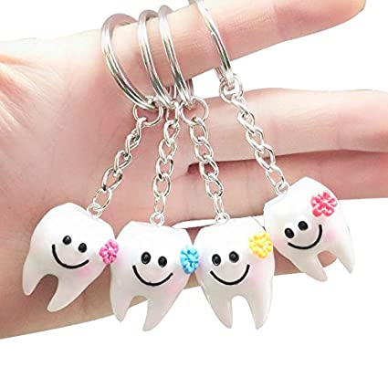 SODIAL 20 pcs Keychain Key Ring Hang Tooth Shape Cute Dental Gift