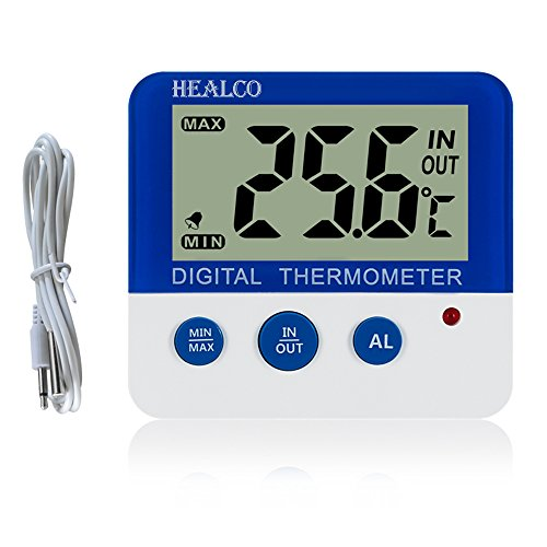 HEALCO Digital Freezer/Fridge Thermometer with Magnet and Stander Digital Refrigerator Thermometer with LED Alarm Indicator Max/Min Memory Freezer Thermometer for Home Kitchen Restaurants Bars Cafes
