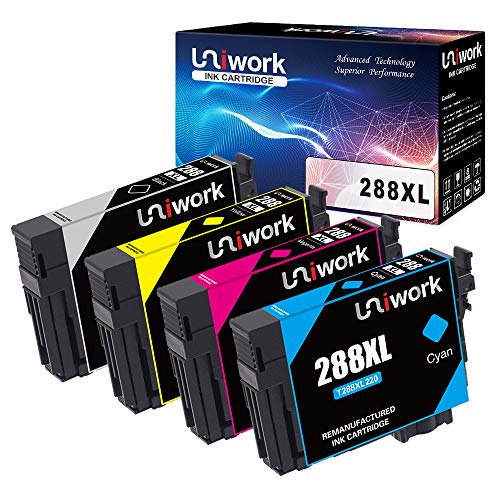 Uniwork 288 288XL Remanufactured Ink Cartridge Replacement for Epson 288XL 288 XL for Epson XP-440 XP-430 XP-340 XP-330 XP-446 XP-434 Printer (BK/C/M/Y), 4 Pack