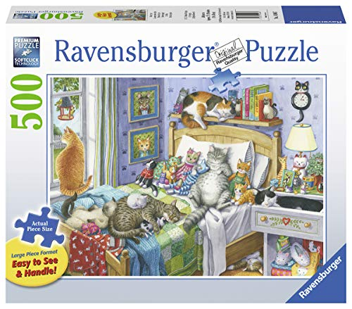 Ravensburger Cat Nap 14966 500 Piece Large Pieces Jigsaw Puzzle for Adults, Every Piece is Unique, Softclick Technology Means Pieces Fit Together Perfectly (Jigsaw Christmas Puzzles Ravensburger)
