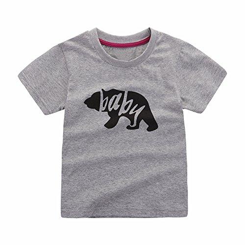 Motecity Fashion Little Boys'Stylish Cartoon Bear Printed T-Shirt Grey 2T