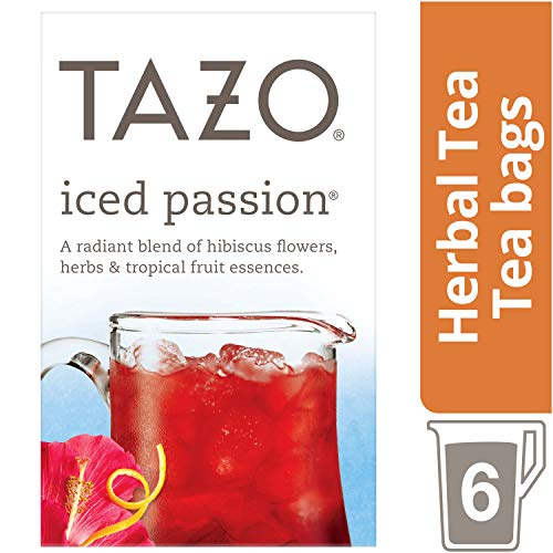 Tazo Iced Passion Tea Bag, Herbal Tea, 6 ct