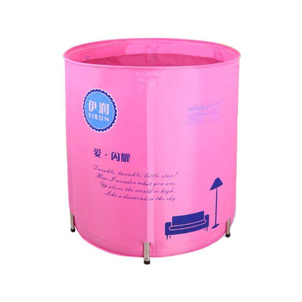 WYP Folding Bathtub Bath Barrel Adult Tub Inflatable Bathtub Thick Plastic Tub Bathtub (Color : Pink)