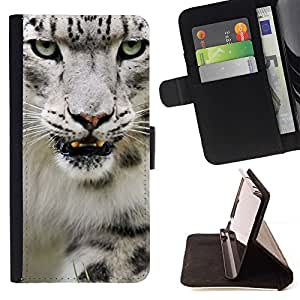 Momo Phone Case / Flip Funda de Cuero Case Cover - Angry Rugido Leopard Snow White Furry - Sony Xperia Z1 L39