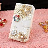 Leegoal(TM) White Synthetic Leather 3D Crown Flower Love Crystal Rhinestones Pearls Wallet Flip Case Cover for Apple iPhone 5C
