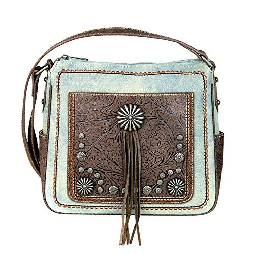Floral Tool West 8360 Denim Tan Montana MW587 Cross Blue and Tassel Handbags Body Purses qYaT6Xxpw