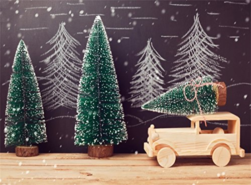 Leowefowa 9X6FT Vinyl Photography Backdrop Christmas Tree Wood Tractor Hand Painted Chalk Pine Trees on Blackboard Snow Rustic Wooden Floor Interior Background Kids Adults Photo Studio Props