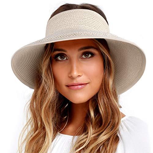 Sun Visor Hats for Women Wide Brim Straw Roll Up Ponytail Summer Beach Hat UV UPF 50 Packable Foldable Travel ()
