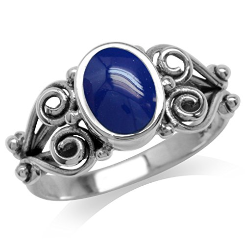 (Created Blue Lapis 925 Sterling Silver Victorian Style Ring Size 6)