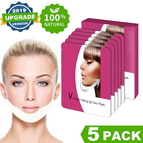 V Line Mask, Chin Up Patch, Double Chin Reducer, V-Shape Lifting Up Face Mask - Anti Age Face Slimming Lifting Patch for Wrinkles, Tightening Firming Face & Neck - 5 ()