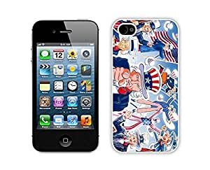 American Flag TPU White Phone Case for Iphone 4 Silcon Soft USA Freedom Iphone 4s Cover