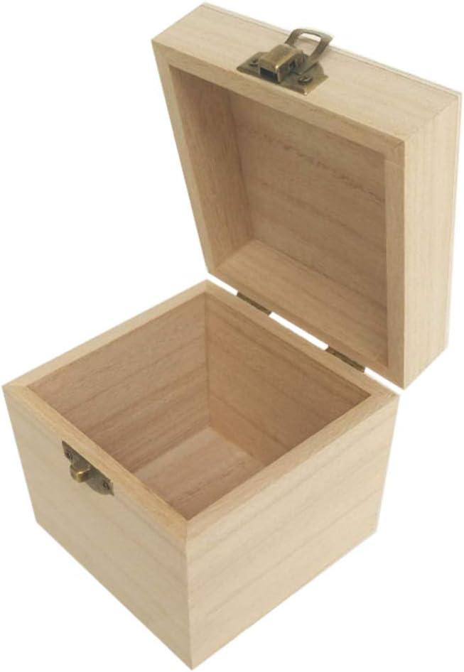 doitsa caja cuadrado pequeño con tapa caja de madera, caja de ...