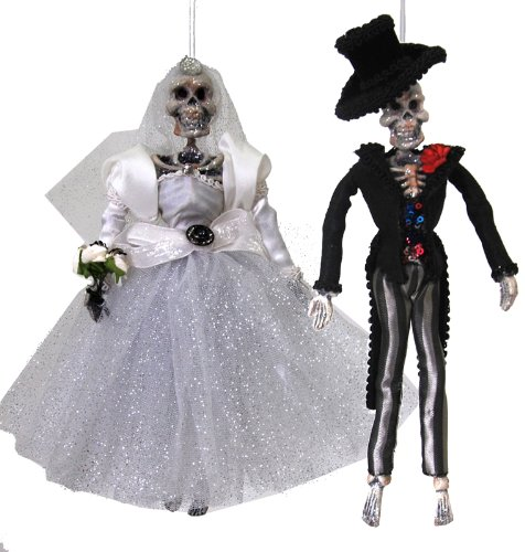 Katherine's Collection Bride and Groom Halloween Skeleton Day of the Dead Ornaments Set of 2 ()