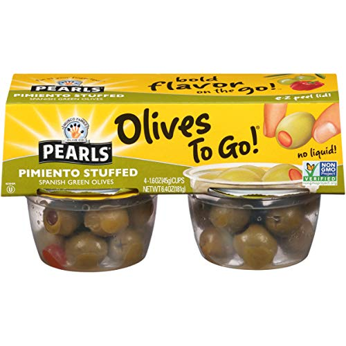 Pimiento Olives Stuffed (Pearls Olives To Go! 1.6 oz. Pimiento Stuffed Spanish Green Olives, 24-Cups)