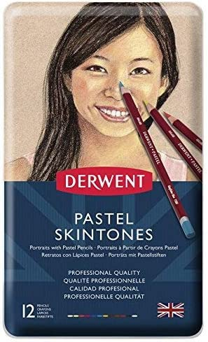 Derwent Coloursoft Skintones 6 Tin Skin Tone /& Portrait Colour Pencil Set