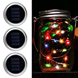 Christmas Lights with Mason Jar Lids- MIRX 3 Pack 10 WaterProof Outdoor LED Multi Color Changing Solar Mason Jar String Lights for Patio Yard Garden Halloween Decor, (Jars Not Included)