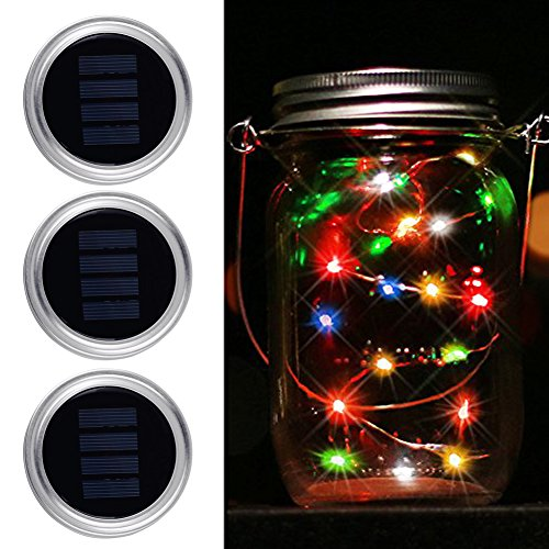 Christmas Lights with Mason Jar Lids- MIRX 3 Pack 10 WaterProof Outdoor LED Multi Color Changing Solar Mason Jar String Lights for Patio Yard Garden Halloween Decor, (Jars Not Included) by MIRX