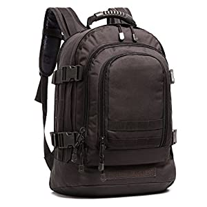 PANS Military Outdoor Backpack,Expandable Tactical Backpack,Two Size of Loading Space,DIY System for Travel,Camping,Hunting,Trekking and Hiking (BLACK-B)