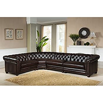 Amax Leather Kennedy 100% leather 4 Piece Sectional Sofa Set Dark Brown  sc 1 st  Amazon.com : 100 leather sectional sofa - Sectionals, Sofas & Couches