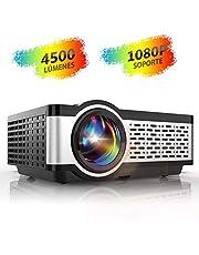 Proyector, TOPTRO Mini Proyector Portátil de Cine en Casa 4500 Lúmenes Soporte Full HD 1080P con Altavoces Estéreo HiFi, Cubierta de Metal, Sistema de Refrigeración Doble Ventiladors, LED 55000 Horas