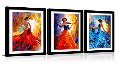 (CANVASZON Framed Wall Art Flying Skirt Abstract Dancing People Framed Red Girl Dancer Artwork Flamenco Painting with Black Frame 12x16inchx3pcs)