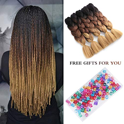 15 Packs Jumbo Ombre Braiding Hair Extensions 3 Tone Kanekalon Synthetic Crochet Braid Hair High Temperature Fiber Crochet Twist Braids 100g/Pack (Black-Brown-Light Brown, 24 Inch) by fani