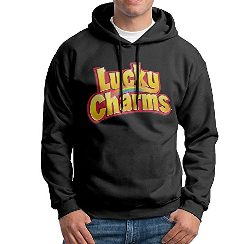 Cereal Box Lucky Charms Costume (FALKING Men's Funny Cotton Lucky Charms Logo Hoodie Sweatshirt XL)