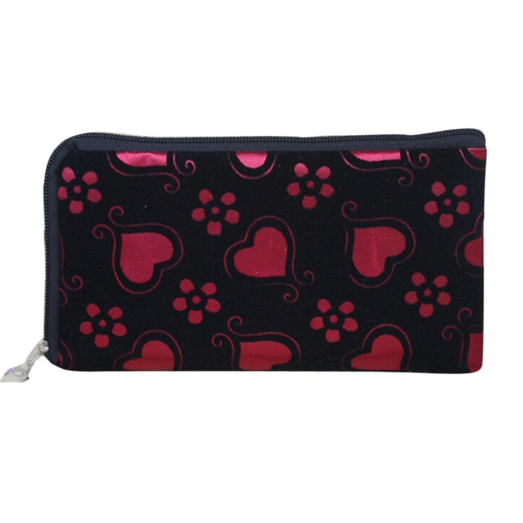 Womail Women Long Zipper Heart Wallet Card Coin Change Holder Handbags (Red)