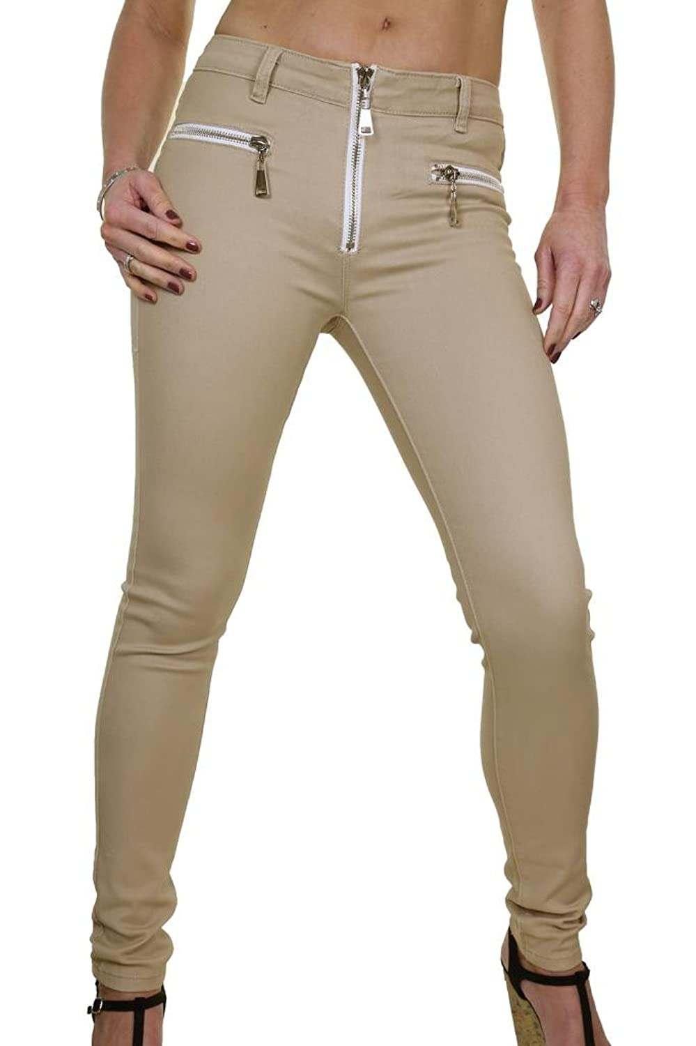ICE (1471-1) Skinny Jeans Low Rise Soft Touch Denim Chunky Zips Beige
