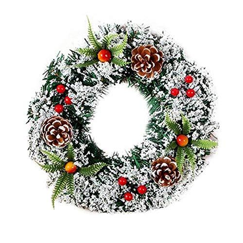 Wovatech Corona de Navidad-Corona de Navidad Artificial con Luces LED de Cadena-Bayas Conos de Pino Decoraciones Mixtas-Decoración Colgante de Puerta de Navidad 20CM
