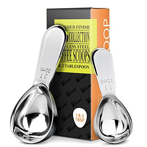 New 1Easylife Endurance Stainless Steel Coffee Scoops, 2 Piece Ergonomic Measuring Spoons, 1 Tbsp & ...