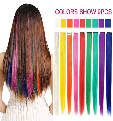 (Rhyme CCW 9PCS Wig Pieces for America Girls and Dolls Clip in/On Colored Hair Extensions(Rainbow)