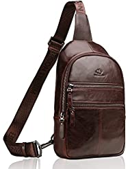 BISON DENIM Multipurpose Leather Cross body Bag Unbalance Shoulder Sling Backpack Chest Bags