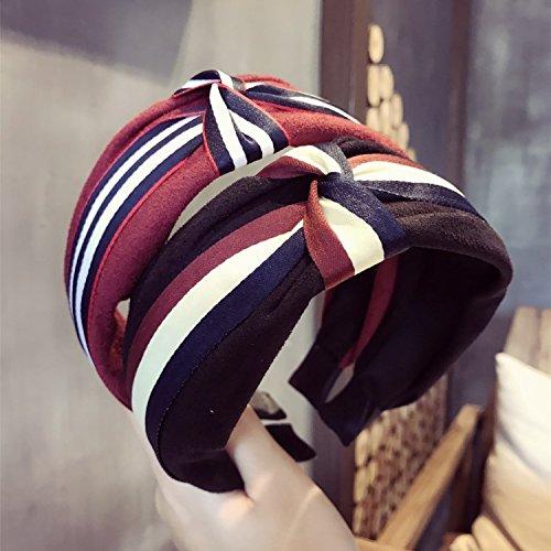 usongs New hit color stripe intermediate grade suede twist tie bow tie broadside hoop headband Ms (Ties Twist Stripe)