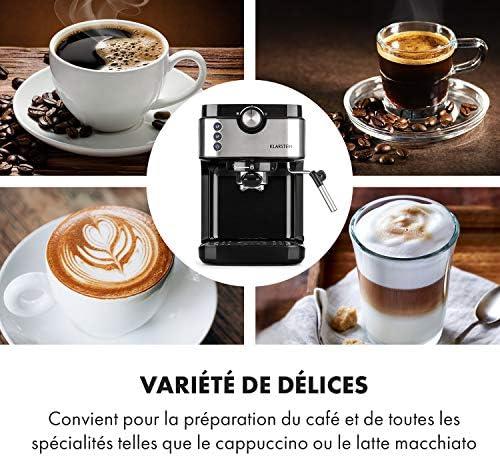 KLARSTEIN BellaVita Espresso - Machine à expresso, 20 bars de pression, Réservoir d'eau amovible, Capacité de 900ml, Cappuccino ou latte macchiato, Buse vapeur mobile en inox - Noir