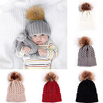 Winter Warmer Girls Boys Pompom Ball Wool Fur  Baby Knitted Hat Kids Cap