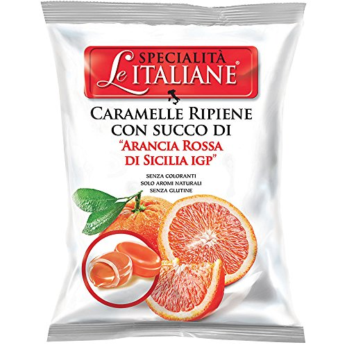 Serra Le Italiane, Italian Natural Hard Candy Filled With Red Orange From Sicily Italy, 3.5 oz - Hard Italian