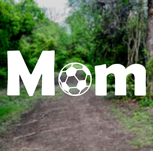 Soccer Mom [Pick Any Color] Vinyl Transfer Sticker Decal for Laptop/Car/Truck/Window/Bumper (8in x 2.7in (Car Size), White)