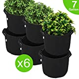 Dulcii Garden Planting Grow Bags, Aeration Fabric Container, Heavy Duty Fabric Grow Pots, Heavy Harvest Planter Raised Bed, Root Treatment Eco-Friendly Grow Bags, Black - 7 Gallon,6pcs