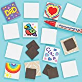 Baker Ross Porcelain Painting Ceramic Tile Magnets (Pack of 10) For Kids To Decorate, Paint Your Own Arts & Crafts Activities