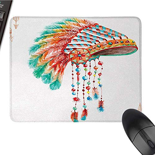 AmericanE-Sports Gaming Mouse PadWatercolor Tribal Native Chief Headdress with Feathers Beads Arrow Figures PrintNonslip Rubber Base 9.8