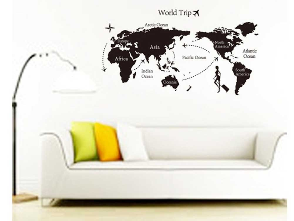 Amazon.com: Removable DIY World Trip Map Art Wall Decor Sticker Decal  Mural: Home U0026 Kitchen