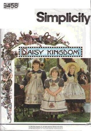 - Simplicity Pattern 9458 Daisy Kingdom Girl's Dress and Pinafore, Size BB (5-6-7-8)